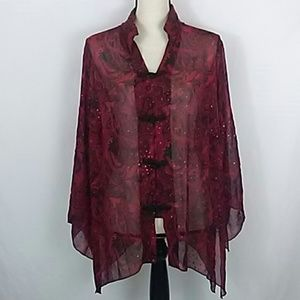 DressBarn Sheer Holiday Top With Glitter Accents
